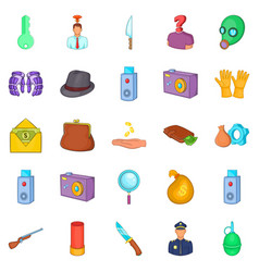 Perpetration icons set cartoon style vector