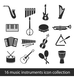 16 music instruments icon collection vector