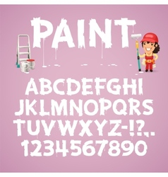 Set of letters and numbers painted on a wall vector
