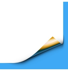 Curled up paper corner isolated on blue background vector
