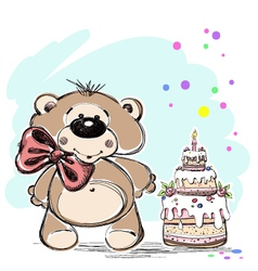 Nice little bear and cake vector