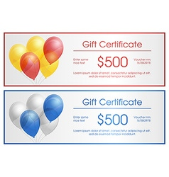 Gift certificate with party baloons vector