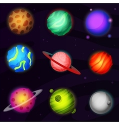 Set of 9 colorful luminous fantastic planets from vector