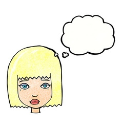 Cartoon female face with thought bubble vector