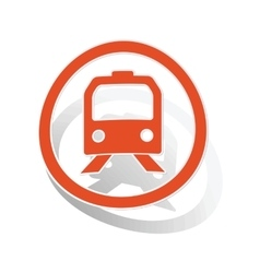 Train sign sticker orange vector