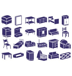 Furniture blue icons on white vector