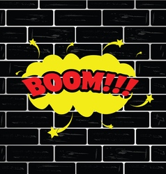 Boom on brick wall cartoon vector