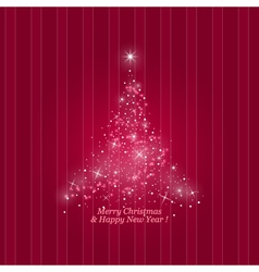 Christmas tree on a striped pink background vector