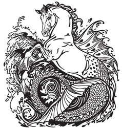Hippocamp black and white vector