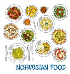 Traditional norwegian seafood and vegetable dishes vector