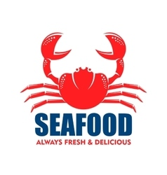 Red crab icon for seafood shop or cafe design vector