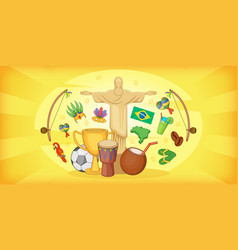 brazil travel horizontal banner cartoon style vector image