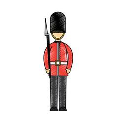 Cartoon soldier of a queen guard royal in vector