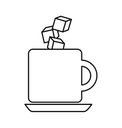 Coffee with cubes sugar vector