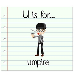 Flashcard letter u is for umpire vector