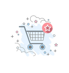 flat basket icon vector image