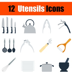 Flat design utensils icon set vector