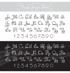 Hand drawn alphabet lines font design vector