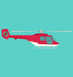 helicopter in flat style vector image vector image