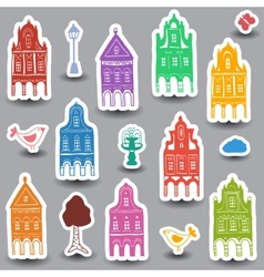 Houses doodles on colored background vector