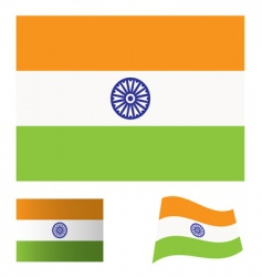 India flag set vector image vector image