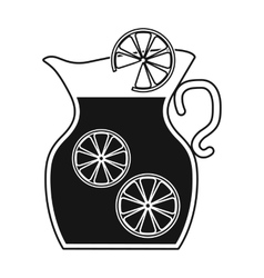 Jug of lemonade icon in black style isolated on vector image