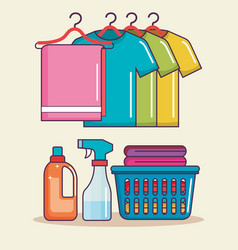 laundry basket clothes hanger soap spray vector image vector image