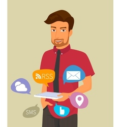 Man holds a tablet pc in his hand with internet vector image vector image
