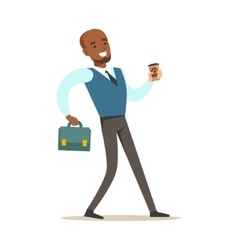 Man with suitcase and goffee cup going to work vector