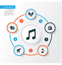Music icons set collection of dossier phonograph vector