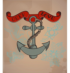 Old-school style tattoo anchor valentine vector