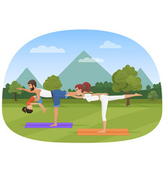 Parents with daughter kid does yoga various vector