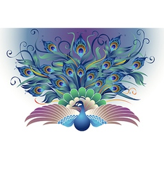 Peacock fly in a decorative style vector image vector image