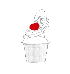 Pie with cherry sketch vector