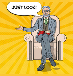 Pop art senior businessman sitting in chair vector