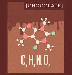 Retro poster of chocolate cacao molecule vector