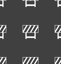 Road barrier icon sign seamless pattern on a gray vector
