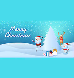 santa claus snowman reindeer are companion vector image