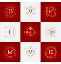 Set luxury logos template flourishes calligraphic vector
