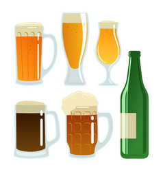 Set of beer glasses and bottle vector