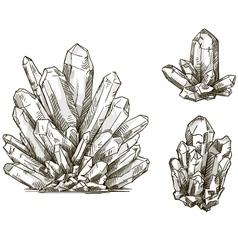 Set of crystals drawings vector