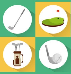 set of golf club equipment sport vector image