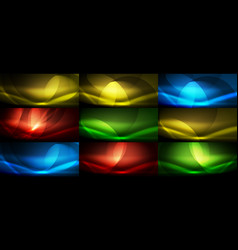 set of neon flowing wave abstract vector image