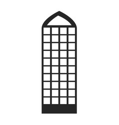 Silhouette monochrome of building skyscraper with vector