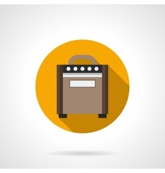 Speaker amplifier flat color round icon vector image vector image
