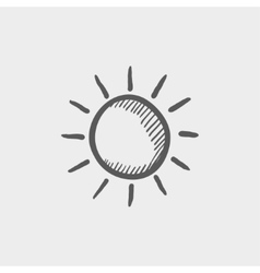 Sun sketch icon vector
