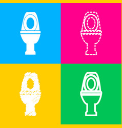 Toilet sign four styles of icon on vector