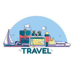 Travel concept signs and icons on vector