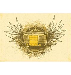 Vintage music emblem vector