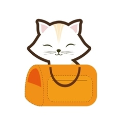 White cat stripes closed eyes yellow pet carrier vector